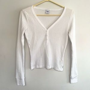 TNA White Thermal Henley - Size S